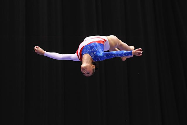 ST. LOUIS, MO - JUNE 10: Kyla Ross competes on the beam during the Senior Women's competition on day four of the Visa Championships at Chaifetz Arena on June 10, 2012 in St. Louis, Missouri. (Photo by Dilip Vishwanat/Getty Images)