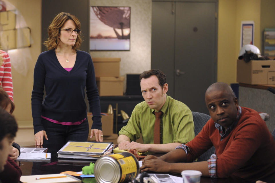 """30 ROCK -- """"Part 1: Hogcock! Part 2: Last Lunch"""" Episode 712/713 -- Pictured: (l-r) Tina Fey as Liz Lemon, Keith Powell as Toffer -- (Photo by: Ali Goldstein/NBCU Photo Bank/NBCUniversal via Getty Images via Getty Images)"""