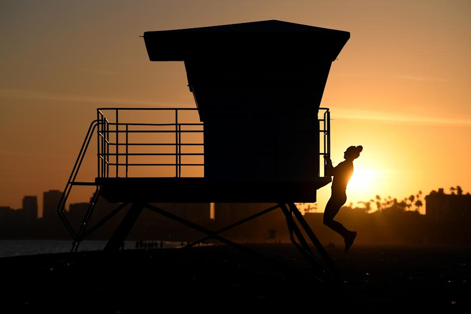 LONG BEACH, CALIFORNIA - MAY 14: U.S. Olympic water polo player Maggie Steffens trains during the coronavirus (COVID-19) pandemic on May 14, 2020 in Long Beach, California. (Photo by Harry How/Getty Images)