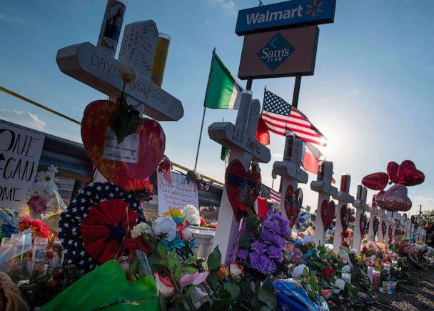 PHOTO: Crosses and flowers at a makeshift memorial for victims of Walmart shooting that left a total of 22 people dead at the Cielo Vista Mall WalMart in El Paso, Texas, on August 5, 2019. (Mark Ralston/AFP via Getty Images, FILE)