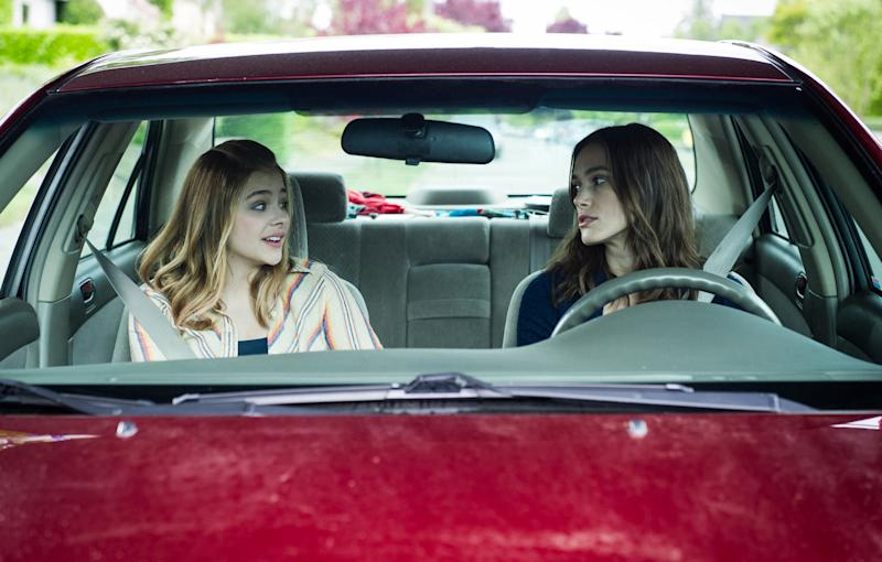"""This photo provided by the Sundance Institute shows Chloe Grace Moretz, left, and Keira Knightley in a scene from the film, """"Laggies,"""" directed by Lynn Shelton. The film will have its premiere at the 2014 Sundance Film Festival. The festival runs Jan. 16 - 26, 2014, in Park City, Utah. (AP Photo/Sundance Institute, Barbara Kinney, file)"""