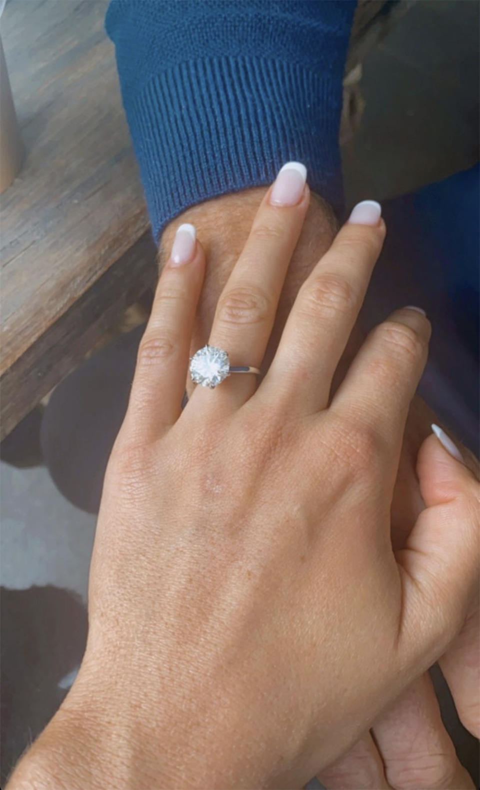 MAFS star Natasha Spencer shows off her 5ct brilliant cut diamond set in an 18ct white gold band