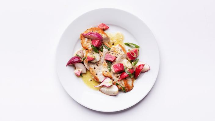 """This fast technique brings out the best (a.k.a. the juiciness!) in boneless, skinless chicken breasts. <a href=""""https://www.bonappetit.com/recipe/pan-seared-chicken-breasts-with-crunchy-radish-salad?mbid=synd_yahoo_rss"""" rel=""""nofollow noopener"""" target=""""_blank"""" data-ylk=""""slk:See recipe."""" class=""""link rapid-noclick-resp"""">See recipe.</a>"""