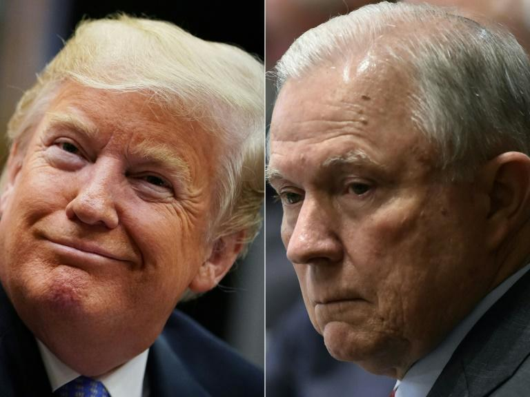 US President Donald Trump(L) and his Attorney General Jeff Sessions: formerly close allies, the two are now at odds over the Russia collusion investigation