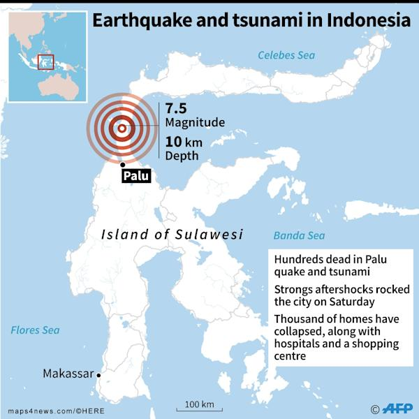 Map of the Indonesian island of Sulawesi, where an 7.5 magnitude earthquake struck Friday. (AFP Photo/AFP)