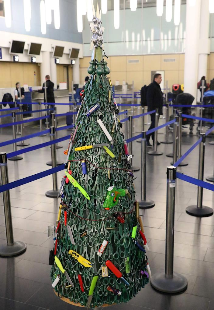 "A ""Christmas tree"" deftly made of confiscated items on display at Vilnius Airport in Vilnius, Lithuania, on December 12, 2019."