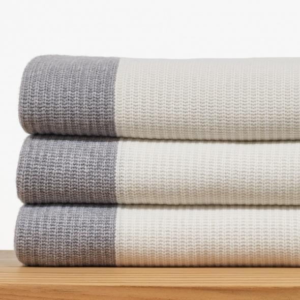 """Cashmere Cardigan Stitch Blanket, $1,295; at <a href=""""http://www.jamesperse.com/home/blankets-throws/home-cashmere-cardigan-stitch-blanket-hcg0200?color=2685&cm_filter=HOME%2FBLANKETS-THROWS"""" rel=""""nofollow noopener"""" target=""""_blank"""" data-ylk=""""slk:James Perse"""" class=""""link rapid-noclick-resp"""">James Perse</a>"""