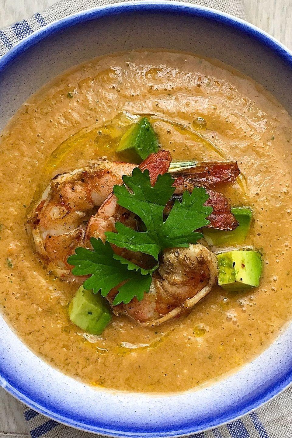 """<p>Add grilled shrimp to give gazpacho a boost of protein.<br><br>Get the recipe from <a href=""""https://www.delish.com/cooking/recipe-ideas/recipes/a42997/tomato-gazpacho-avocado-grilled-shrimp/"""" rel=""""nofollow noopener"""" target=""""_blank"""" data-ylk=""""slk:Delish"""" class=""""link rapid-noclick-resp"""">Delish</a>.</p>"""