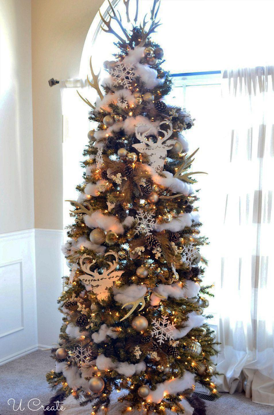 """<p>Turn your living room into the North Pole with this deer-themed winter wonderland tree. It's different, it's stunning, and your family will love it. </p><p><strong><em>Get the tutorial at <a href=""""https://www.u-createcrafts.com/winter-wondeerland-christmas-tree/"""" rel=""""nofollow noopener"""" target=""""_blank"""" data-ylk=""""slk:U Create Crafts"""" class=""""link rapid-noclick-resp"""">U Create Crafts</a>.</em></strong></p><p><a class=""""link rapid-noclick-resp"""" href=""""https://go.redirectingat.com?id=74968X1596630&url=https%3A%2F%2Fwww.michaels.com%2F14.5in-deer-head-whitewashed-wood-plaque-by-artminds%2F10643619.html&sref=https%3A%2F%2Fwww.womansday.com%2Fhome%2Fhow-to%2Fg2025%2Fchristmas-tree-decorations%2F"""" rel=""""nofollow noopener"""" target=""""_blank"""" data-ylk=""""slk:BUY DEER HEAD PLAQUES"""">BUY DEER HEAD PLAQUES</a></p>"""