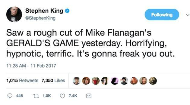 Even author Stephen King warned viewers! Source: Twitter
