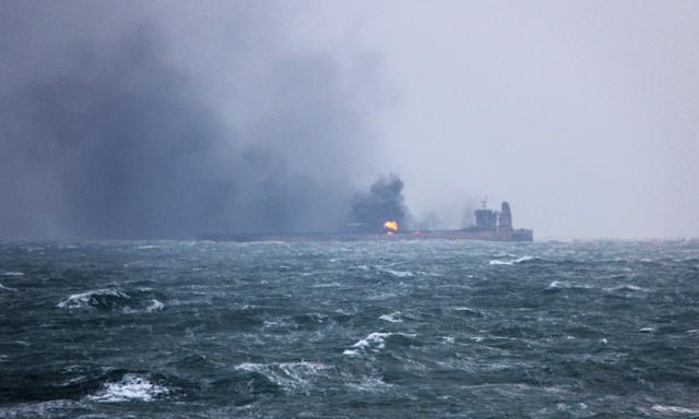 <p>Handout photo from China's transport ministry of the burning oil tanker Sanchi. (Photo: China Daily via Reuters) </p>