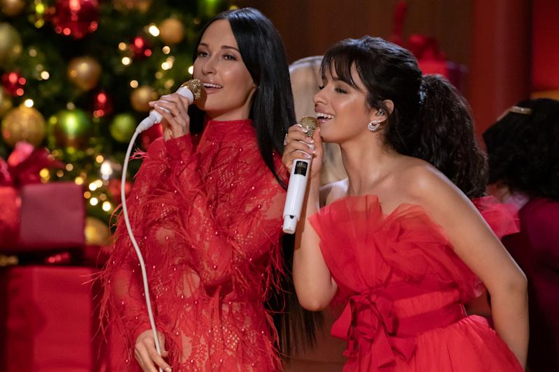 Singers Kacey Musgraves and Camila Cabello sing on The Kasey Musgraves Christmas Show.
