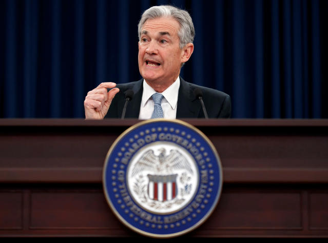 FILE- In this March 21, 2018, file photo, Federal Reserve Chairman Jerome Powell speaks following the Federal Open Market Committee meeting in Washington. On Wednesday, May 2, the Federal Reserve releases its latest monetary policy statement after a two-day meeting. (AP Photo/Carolyn Kaster, File)
