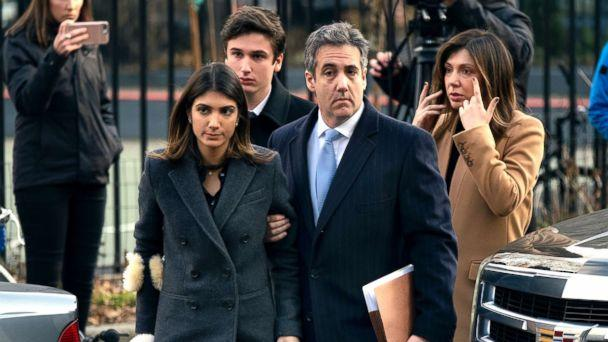 PHOTO: Michael Cohen, right, President Donald Trump's former lawyer, accompanied by his children and wife, arrive at federal court for his sentencing in New York, Dec. 12, 2018. (Craig Ruttle/AP)