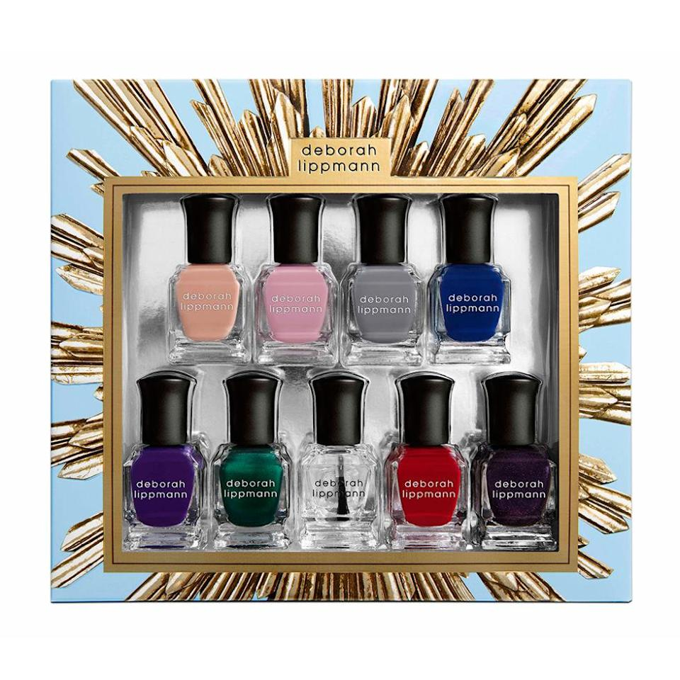 """<p>Talk about value — a total of nine trendy shades of nail polish come in this pretty box...just add a bow and your present is good to go! ($45; <a href=""""http://www.sephora.com/her-majesty-gel-lab-pro-nail-polish-set-P411854?skuId=1863158&publisher_id=255779&sub_publisher=g&is_mobile=&sub1=&sub_keyword=&sub_campaign=378477159&sub_placement=&gdevice=c&gclid=Cj0KEQjwvve_BRDmg9Kt9ufO15EBEiQAKoc6qhXUo3rk3hDHkvAnpkod5iABmSK2TyYJuoEWgXzzbdsaAs5K8P8HAQ&site=_search&om_mmc=ppc-GG_378477159_27752557839_pla-56128534817_1863158_95787538359_9060351_c&gmodel=&country_switch=&lang=en&sub_ad=95787538359"""" rel=""""nofollow noopener"""" target=""""_blank"""" data-ylk=""""slk:sephora.com"""" class=""""link rapid-noclick-resp"""">sephora.com</a>)</p>"""
