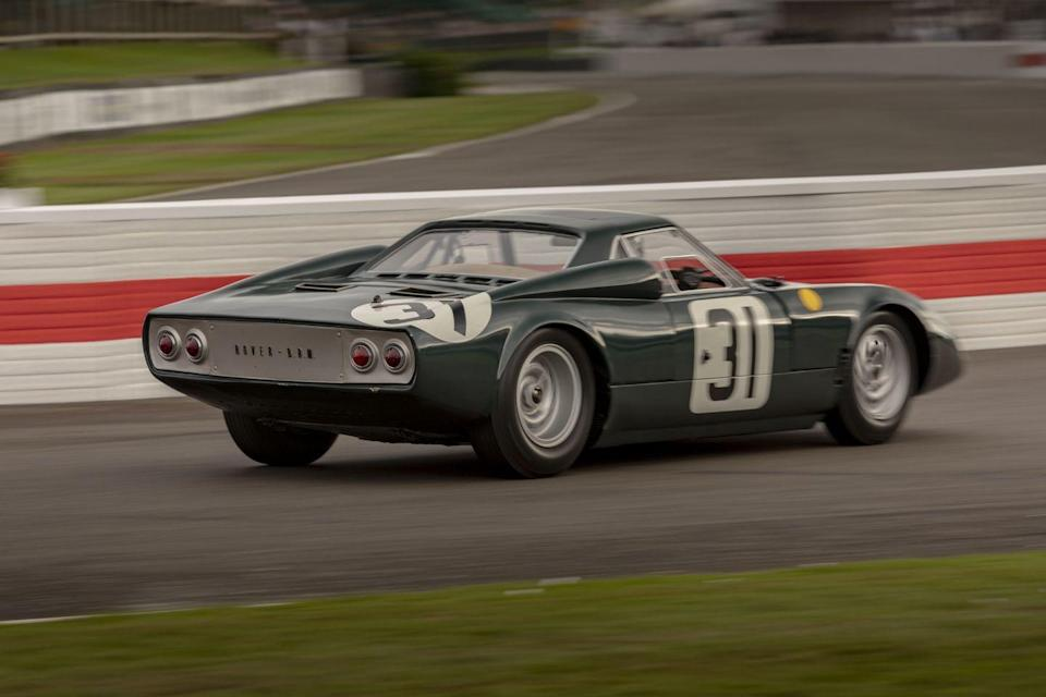 """<p>The next day, BRMs paraded around the track in the largest gathering of the make since its racing days. As special as the Type 15 is and sounds, our favorite was the <a href=""""https://www.theengineer.co.uk/this-week-in-1965-the-rover-brm-gas-turbine-car/"""" rel=""""nofollow noopener"""" target=""""_blank"""" data-ylk=""""slk:1965 Rover-BRM turbine"""" class=""""link rapid-noclick-resp"""">1965 Rover-BRM turbine</a>. The two companies collaborated on the endurance racer for Le Mans, yet it sounded like it would be more at home on the Goodwood airfield; Graham Hill supposedly said it sounded like a Boeing 707. Phil Hill and Jackie Stewart drove it in the 1965 race, the car classified as a 2.0-liter and finishing 10th overall.</p>"""