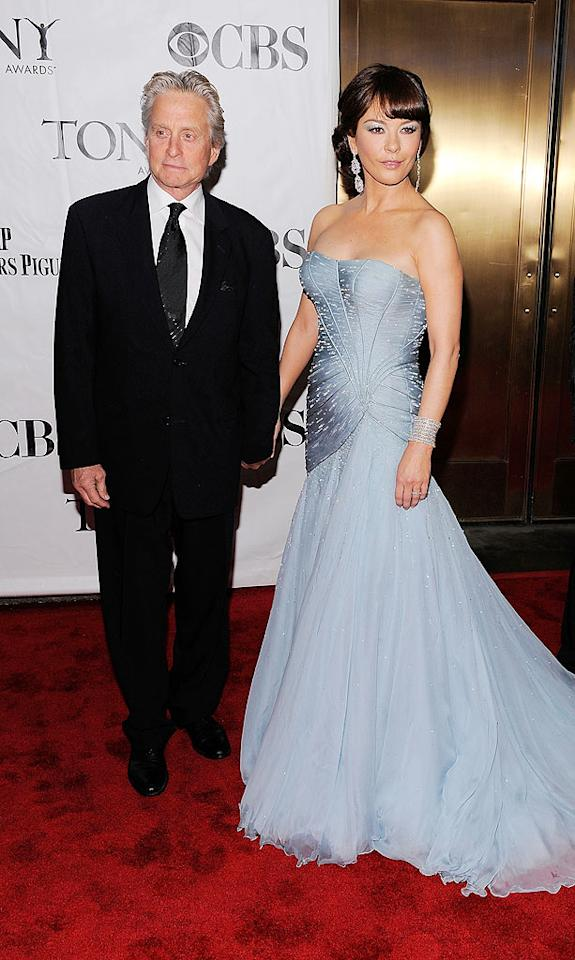 "Forget Michael Douglas, all eyes were on his wife of 10 years, Catherine Zeta-Jones, who stole the spotlight in a periwinkle gown fit for a princess. Jemal Countess/<a href=""http://www.wireimage.com"" target=""new"">WireImage.com</a> - June 13, 2010"