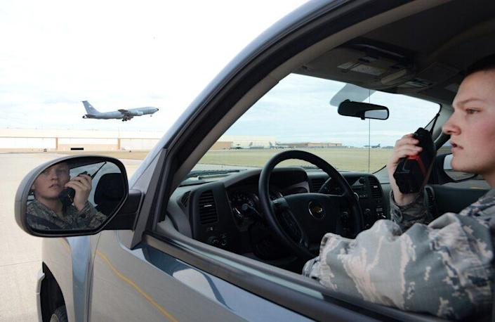 Airman 1st Class Dannion Phillips at Tinker Air Force Base in Oklahoma in 2018, the same year he joined Identity Evropa. (Photo: Air Force/Kelly White)