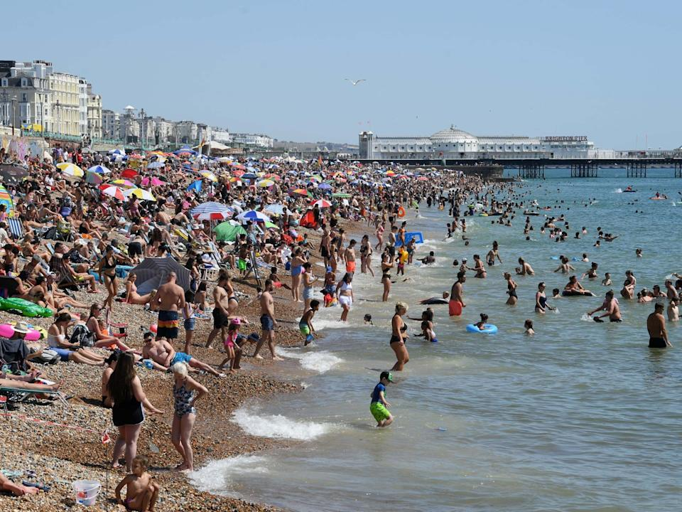 Brighton beach is packed as the South of England basks in a summer heatwave on August 07, 2020: Getty Images