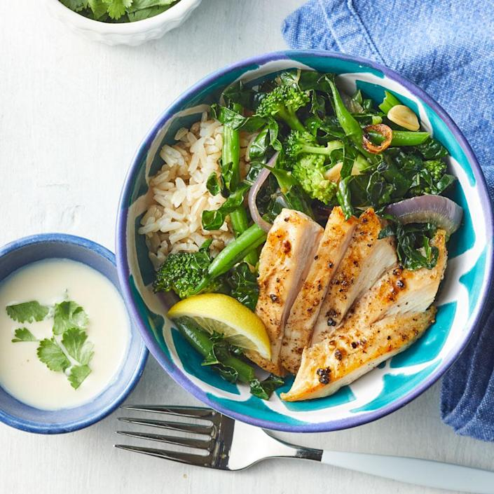 <p>For this healthy 30-minute dinner, treat your veggies like pasta and cook until al dente, or just done. If you have a little extra time, double or triple the lemon-tahini dressing and use it to quickly dress a salad or as a sauce for steak or shrimp.</p>