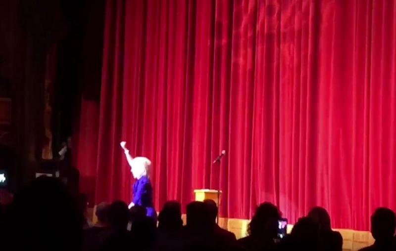 Kathy Griffin appeared on stage this week sporting a Trump mask. Source: Twitter