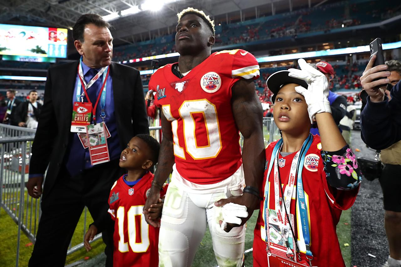 MIAMI, FLORIDA - FEBRUARY 02: Tyreek Hill #10 of the Kansas City Chiefs celebrates after defeating the San Francisco 49ers 31-20 in Super Bowl LIV at Hard Rock Stadium on February 02, 2020 in Miami, Florida. (Photo by Jamie Squire/Getty Images)