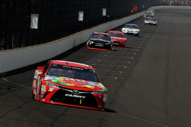 "<a class=""link rapid-noclick-resp"" href=""/nascar/sprint/drivers/947/"" data-ylk=""slk:Kyle Busch"">Kyle Busch</a> dominated on Sunday at Indianapolis (Getty)."