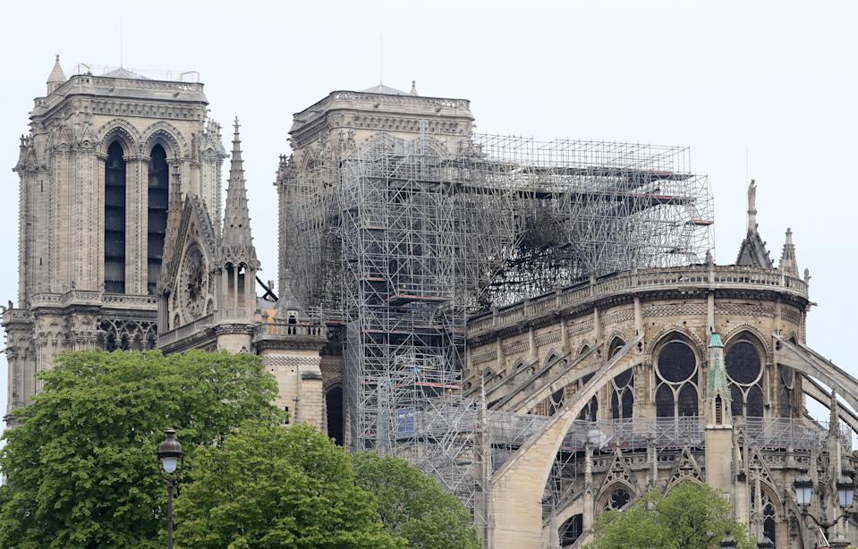 The Notre Dame Cathedral in Paris on Tuesday following a fire which destroyed much of the building (Picture: PA)