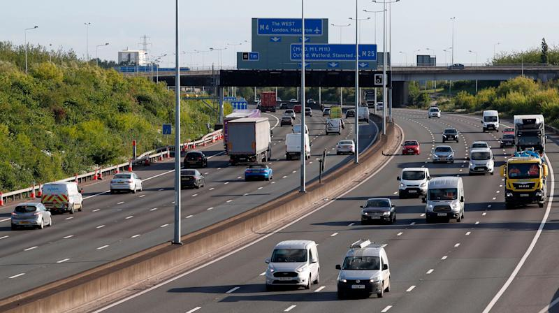 Traffic on the M25 motorway during the morning rush hour near Heathrow Airport west of London on May 11, 2020. A woman fell onto the M25 while trying to film a Snapchat video, police said. (Photo: ADRIAN DENNIS via Getty Images)