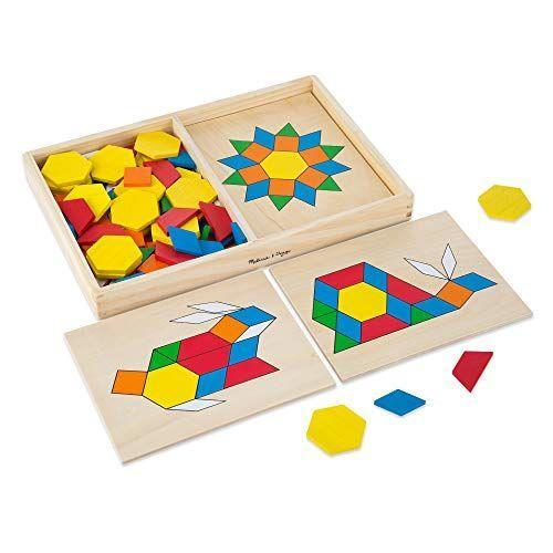 """<p><strong>Melissa & Doug</strong></p><p>amazon.com</p><p><strong>$13.99</strong></p><p><a href=""""https://www.amazon.com/dp/B00006JZCG?tag=syn-yahoo-20&ascsubtag=%5Bartid%7C10070.g.34430618%5Bsrc%7Cyahoo-us"""" rel=""""nofollow noopener"""" target=""""_blank"""" data-ylk=""""slk:Shop Now"""" class=""""link rapid-noclick-resp"""">Shop Now</a></p><p>Not only will this toy keep your toddler preoccupied, it also helps with spatial awareness, color recognition, hand-eye coordination, and problem solving. It comes with 10 colorful boards and 120 pattern blocks in various shapes and colors.<br></p>"""