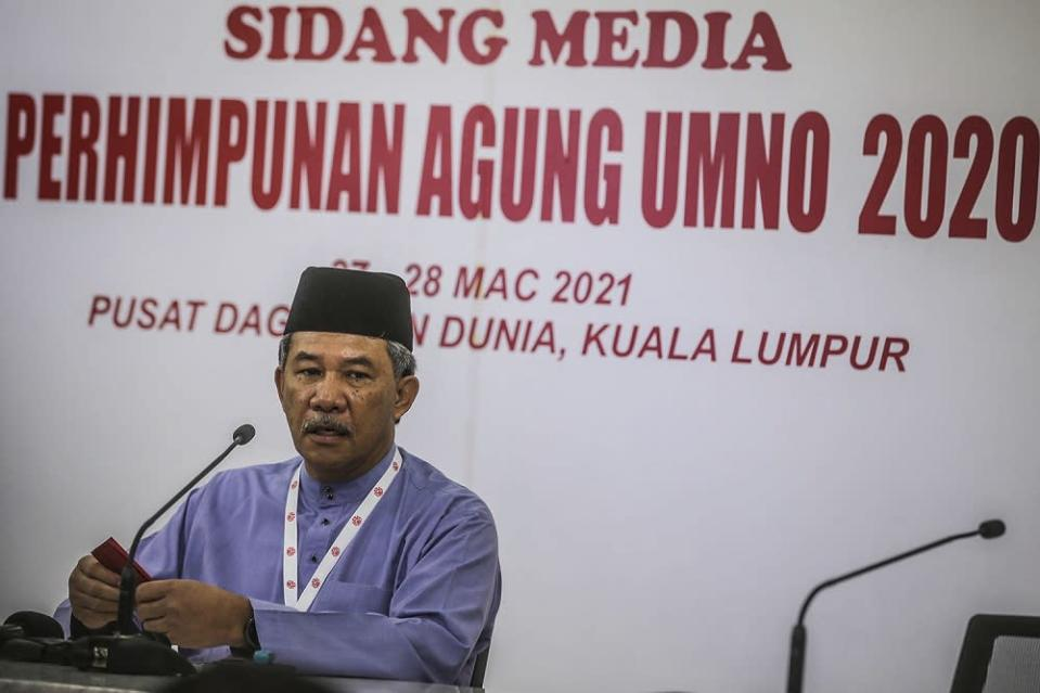Umno deputy president Datuk Seri Mohamad Hassan speaks during a press conference at the 2020 Umno annual general meeting in Kuala Lumpur March 27, 2021. ― Picture by Hari Anggara