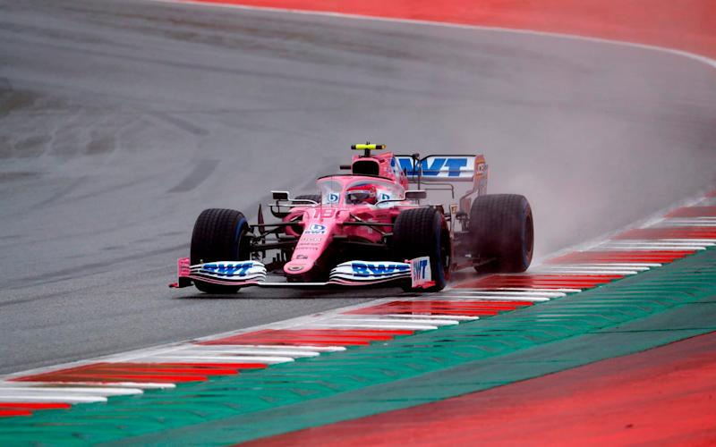 Racing Point's Canadian driver Lance Stroll steers his car during the qualifying for the Formula One Styrian Grand Prix on July 11, 2020 in Spielberg, Austria. - Getty Images