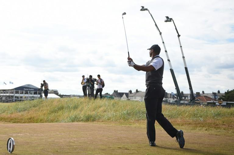 US golfer Tiger Woods plays from the 17th tee during his third round on day 3 of the British Open