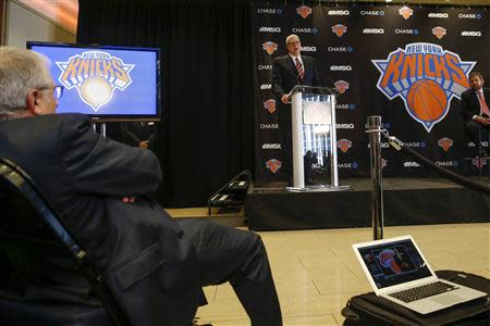 Phil Jackson speaks during a news conference announcing him as the team president of the New York Knicks basketball team at Madison Square Garden in New York March 18, 2014.REUTERS/Shannon Stapleton