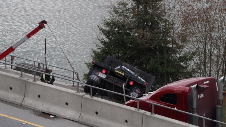 'That saved his life': Truck teetering off Hwy 17 hangs on by its steel tool box