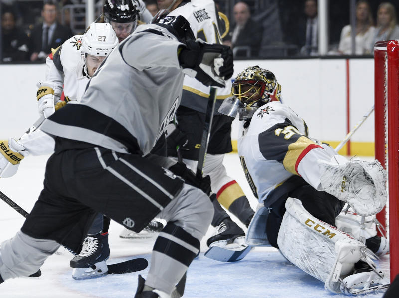 Karlsson scores two, Fleury and Vegas blanks Calgary, 6-0