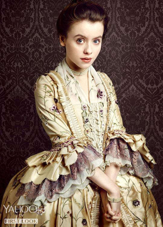 <p>Claire also meets Mary Hawkins (Rosie Day, <i>The Seasoning House</i>) in de Rohan's salon. She is a sweet, young Englishwoman with a slight stutter who, as the daughter of a baronet and the niece of another important merchant, has been sent to live in France and who has been promised to a very old French nobleman in a power play by her elders.</p><p><i>(Credit: Jason Bell/Starz)</i></p>