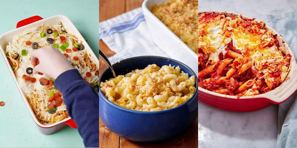 """<p>Spending more time at home means spending more time with the kids, which for obvious reasons can be slightly challenging (especially in the food department). But, have no fear! Because we've got a smashing selection of fun, easy and delicious-tasting <a href=""""https://www.delish.com/uk/cooking/recipes/g33642767/easy-pasta-recipes/"""" rel=""""nofollow noopener"""" target=""""_blank"""" data-ylk=""""slk:pasta recipes"""" class=""""link rapid-noclick-resp"""">pasta recipes</a> suitable for all kids. We're talking <a href=""""http://www.delish.com/uk/cooking/recipes/a28830701/pizza-spaghetti-recipe/"""" rel=""""nofollow noopener"""" target=""""_blank"""" data-ylk=""""slk:Pizza Spaghetti"""" class=""""link rapid-noclick-resp"""">Pizza Spaghetti</a> (yes, combining two classics), <a href=""""https://www.delish.com/uk/cooking/recipes/a30267815/tuna-pasta-bake/"""" rel=""""nofollow noopener"""" target=""""_blank"""" data-ylk=""""slk:Tuna Pasta Bake"""" class=""""link rapid-noclick-resp"""">Tuna Pasta Bake</a>, <a href=""""http://www.delish.com/uk/cooking/recipes/a28830973/3-cheese-mac-recipe/"""" rel=""""nofollow noopener"""" target=""""_blank"""" data-ylk=""""slk:Mac & Cheese"""" class=""""link rapid-noclick-resp"""">Mac & Cheese</a> and more! So, if you're stuck of some inspiration, check out our top 10 pasta recipes for kids now... </p>"""