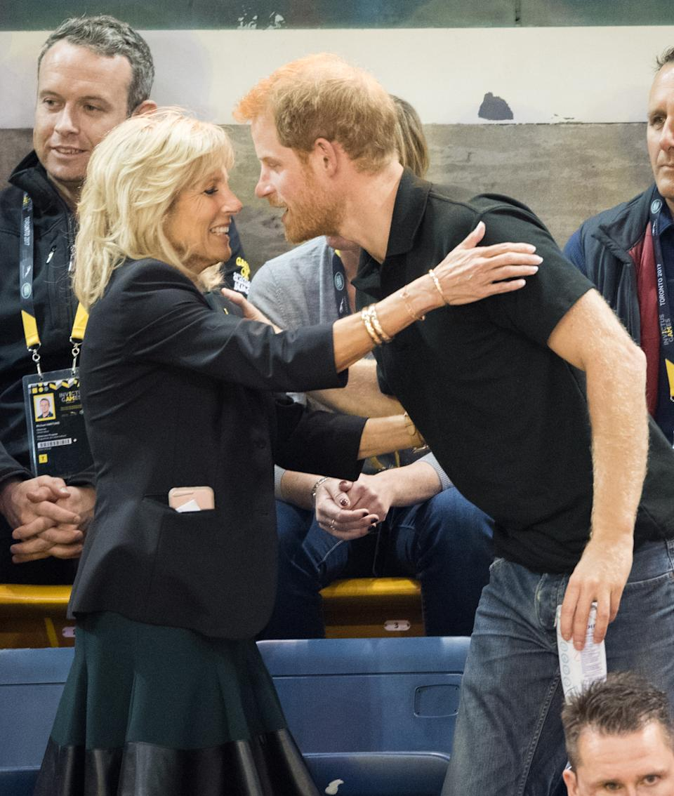 TORONTO, ON - SEPTEMBER 30:  Jill Biden and Prince Harry attend the wheelchair basketball final on day 8 of the Invictus Games Toronto 2017 on September 30, 2017 in Toronto, Canada.  The Games use the power of sport to inspire recovery, support rehabilitation and generate a wider understanding and respect for the Armed Forces.  (Photo by Samir Hussein/Samir Hussein/WireImage)