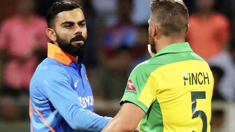 Virat Kohli, pictured here congratulating Aaron Finch after the match.