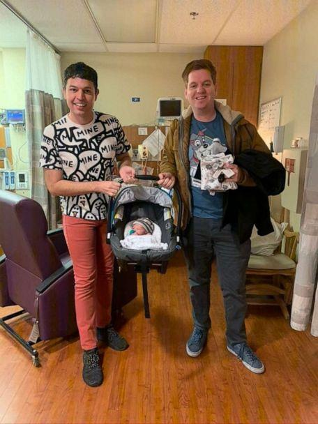 PHOTO: Christopher More and Anthony Lach adopted their son, Parker Terence Lachmore, over Zoom in May 2020. (Courtesy Christopher More and Anthony Lach)