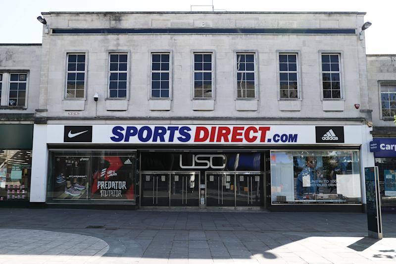 SOUTHAMPTON, ENGLAND - APRIL 19: A Sports Direct store on April 19, 2020 in Southampton, England. In a press conference on Thursday, First Secretary of State Dominic Raab announced that the lockdown will remain in place for at least 3 more weeks. The Coronavirus (COVID-19) pandemic has spread to many countries across the world, claiming over 140,000 lives and infecting more than 2 million people. (Photo by Naomi Baker/Getty Images)