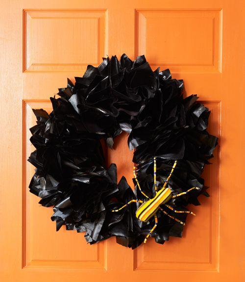 """<p>Decorate your front door with this Halloween wreath made with wire, newspaper, and black spray paint. </p><p><em><a href=""""https://www.womansday.com/home/crafts-projects/how-to/a5941/craft-project-newspaper-wreath-123858/"""" target=""""_blank"""">Get the tutorial for Newspaper Wreath.</a></em></p><p><strong>What you'll need</strong>: <a href=""""https://www.amazon.com/Krylon-51601-Interior-Exterior-Decorator/dp/B0009XB3VI/ref=sr_1_5?keywords=black+spray+paint&qid=1563389293&s=gateway&sr=8-5"""" target=""""_blank"""">Black spray paint</a> ($7, amazon.com)</p>"""