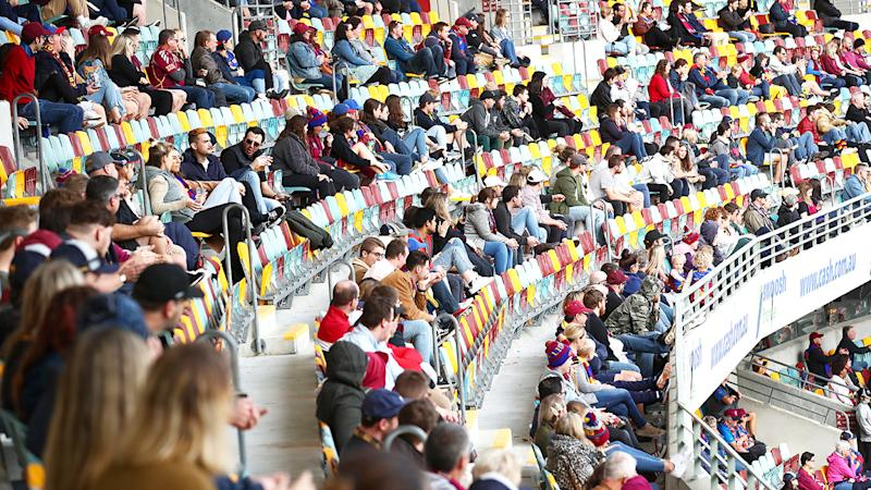 AFL fans, pictured here at the Gabba during the Brisbane Lions' clash with Adelaide Crows.