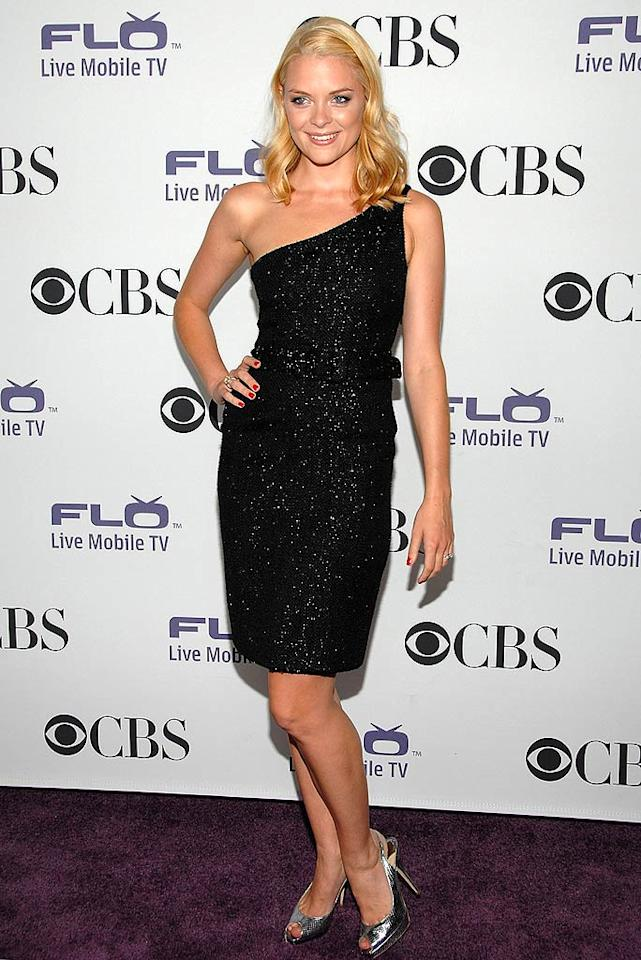 "Blond bombshell Jaime King sparkled in a black one-shoulder dress and silver heels. The model/actress stars in the new CBS comedy ""Gary Unmarried."" Jean-Paul Aussenard/<a href=""http://www.wireimage.com"" target=""new"">WireImage.com</a> - September 17, 2008"