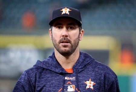 Oct 29, 2017; Houston, TX, USA; Houston Astros pitcher Justin Verlander before game five of the 2017 World Series against the Los Angeles Dodgers at Minute Maid Park. Mandatory Credit: Thomas B. Shea-USA TODAY Sports
