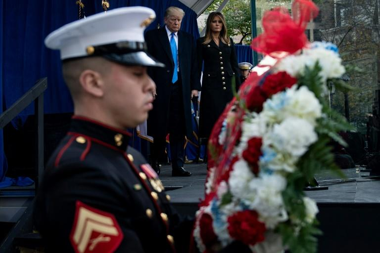 US President Donald Trump, pictured at a wreath laying ceremony at a Veterans Day event  November 11, 2019, in New York; Trump has placed the Islamic State group's new chief in the crosshairs