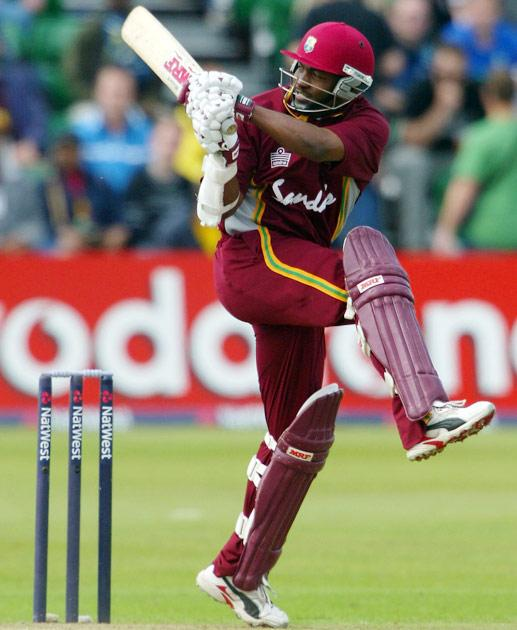 CARDIFF, WALES - JULY 3:  West Indies captain Brian Lara pulls a ball for four runs during his half century during the 6th Natwest Series game between New Zealand and the West Indies at Sophia Gardens on July 3, 2004 in Cardiff, Wales. (Photo by Stu Forster/Getty Images)