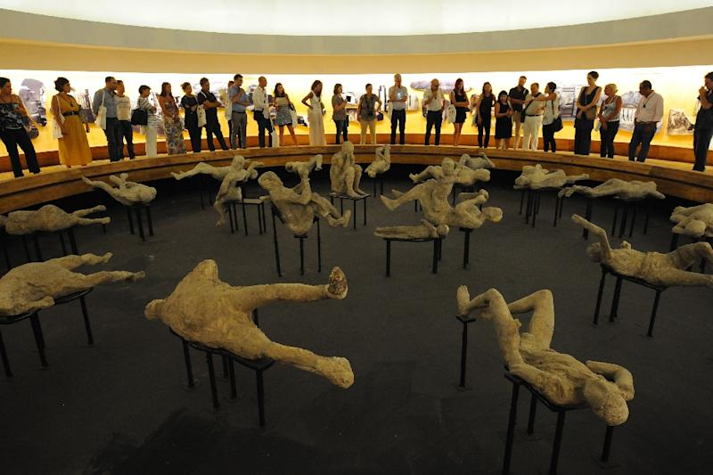 Pompeii's transformation includes a new special exhibition of around 20 victims of the eruption, preserved in plaster with their expressions and positions fixed at the very moment they met their fate (AFP Photo/Mario Laporta)