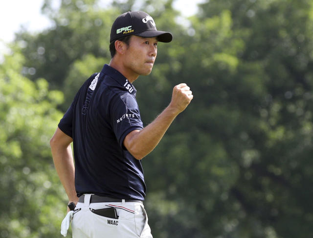 FILE- In this May 26, 2019, file photo, Kevin Na pumps his fist after winning in the final round of the Charles Schwab Challenge golf tournament in Fort Worth, Texas. a is the defending champion at A Military Tribute at The Greenbrier, which kicks off the PGA Tour season Thursday, Sept. 12, 2019, in White Sulphur Springs, W.Va. (AP Photo/Richard W. Rodriguez, File)